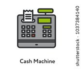 cash machine vintage antique... | Shutterstock .eps vector #1037384140