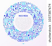 mass media concept in circle... | Shutterstock .eps vector #1037387674