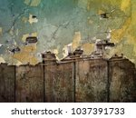 old wall  chipped paint... | Shutterstock . vector #1037391733