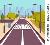 city empty road | Shutterstock .eps vector #1037391853