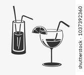 vector illustration cocktail in ... | Shutterstock .eps vector #1037392360