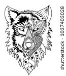 wolf head normal and half... | Shutterstock .eps vector #1037403028