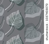 hand drawn ivy leaves vector... | Shutterstock .eps vector #1037403070