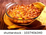 leftover sponge cake pudding in ... | Shutterstock . vector #1037406340