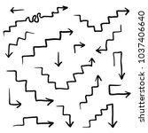 big set of vector hand drawn... | Shutterstock .eps vector #1037406640