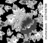 monochrome floral seamless... | Shutterstock .eps vector #1037408788