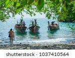krabi thailand 3 feb 2018  long ... | Shutterstock . vector #1037410564