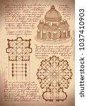 leonardo da vinci architecture. ... | Shutterstock .eps vector #1037410903