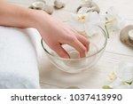 warm bath for nails. long soak... | Shutterstock . vector #1037413990