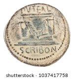 Small photo of Roman Republic Coin. Ancient Roman silver denarius of the family Scribonia. Reverse.