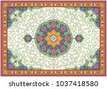 colorful oriental mosaic rug... | Shutterstock .eps vector #1037418580
