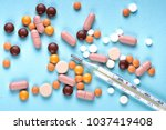 expired medications collected... | Shutterstock . vector #1037419408