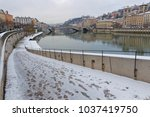 Small photo of LYON, FRANCE, March 1, 2018 : Saone river banks as a cold spell rages in all Europe and the Capital of Gallia is under the snow.