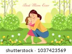 happy woman and child in the... | Shutterstock .eps vector #1037423569