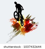 bmx jumper during trick jump | Shutterstock .eps vector #1037432644
