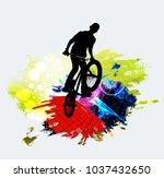 bmx jumper during trick jump | Shutterstock .eps vector #1037432650