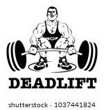 strong man doing deadlift flat...   Shutterstock .eps vector #1037441824