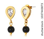fancy gold earrings with black... | Shutterstock . vector #1037443873