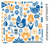 collection of blue and orange... | Shutterstock .eps vector #1037444479