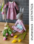 handmade rabit doll rag doll... | Shutterstock . vector #1037447626