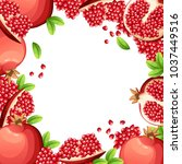 pattern of pomegranate and... | Shutterstock .eps vector #1037449516