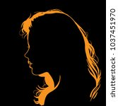 woman face silhouette in... | Shutterstock .eps vector #1037451970
