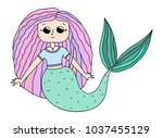 beautiful little mermaid. siren....   Shutterstock .eps vector #1037455129