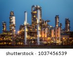 oil refinery industrial... | Shutterstock . vector #1037456539