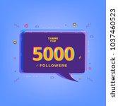 5000 followers thank you... | Shutterstock .eps vector #1037460523