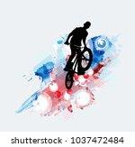 bicycle jumper  sport background | Shutterstock .eps vector #1037472484