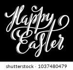 happy easter poster with hand... | Shutterstock .eps vector #1037480479