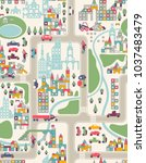 toy city and roads  map  cars | Shutterstock .eps vector #1037483479