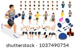 isometrics create your sporty... | Shutterstock .eps vector #1037490754