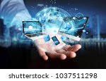 tech devices connected to each... | Shutterstock . vector #1037511298