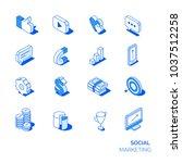 isometric social marketing... | Shutterstock .eps vector #1037512258