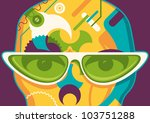 Abstract illustration with sunglasses. Vector illustration. - stock vector