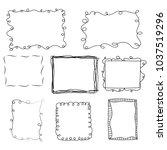 hand drawn doodle frames set | Shutterstock .eps vector #1037519296