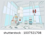 the interior of the plant with... | Shutterstock .eps vector #1037521708