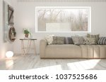 white room with sofa and winter ... | Shutterstock . vector #1037525686