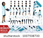 isometric woman doctor african... | Shutterstock .eps vector #1037538733