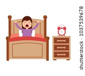 wake up morning the young girl... | Shutterstock .eps vector #1037539678