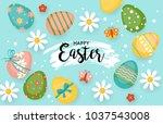 easter holiday banner design... | Shutterstock .eps vector #1037543008