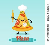 pizza funny cartoon character.... | Shutterstock .eps vector #1037543014