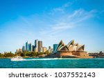 the city skyline of sydney ... | Shutterstock . vector #1037552143