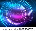 magic neon circle shape... | Shutterstock .eps vector #1037554573