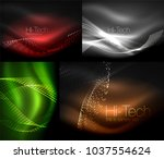set of multicolored neon smoke... | Shutterstock .eps vector #1037554624