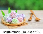 colorful of thai coconut... | Shutterstock . vector #1037556718