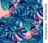 tropical leaves. seamless... | Shutterstock .eps vector #1037562220