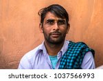 indian man portrait on the... | Shutterstock . vector #1037566993