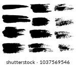 painted grunge stripes set.... | Shutterstock .eps vector #1037569546